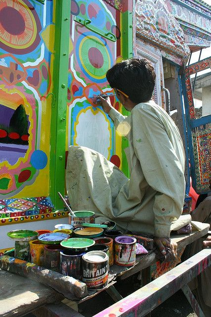 """Much like Billboard painting in Pakistan, another indigenous form of art created in Pakistan is Truck Painting. With colorful floral patterns, creative depictions of heroes with calligraphy of poetic verses, this form of art is an established part of Pakistani transport tradition."""