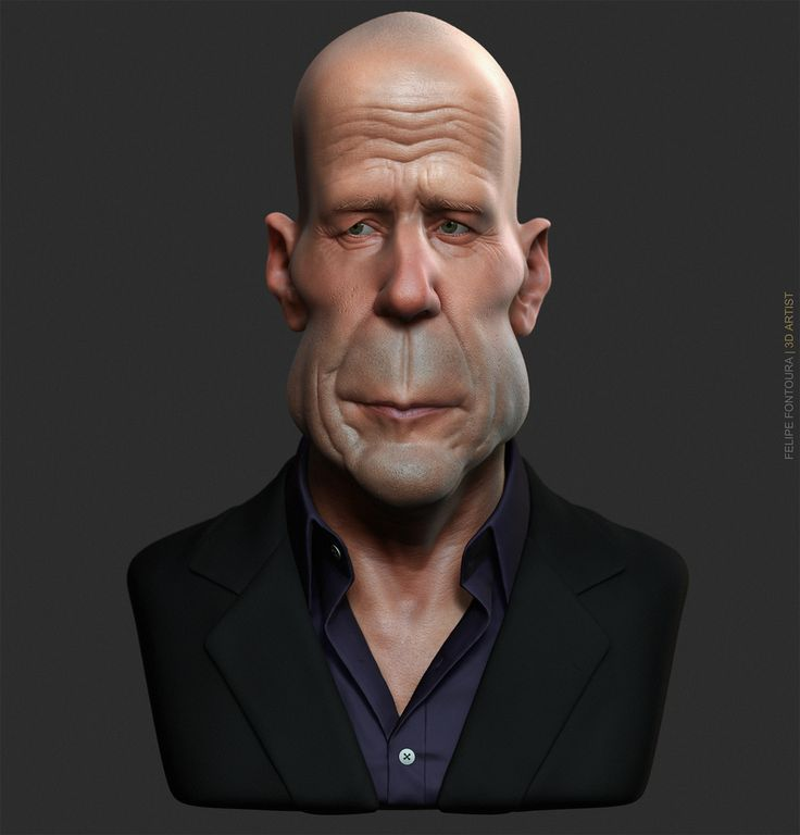Caricature - Bruce Willis by Felipe Fontoura | Caricature | 3D | CGSociety