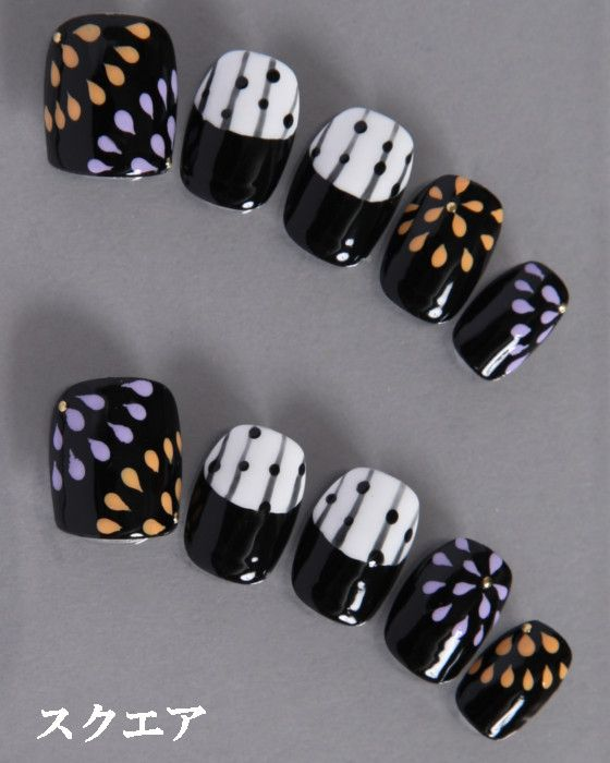 デザインネイルチップ・つけ爪ゆずネイル|ネイルチップ ブラック 夏 浴衣(B01012-Q-BK)の販売|ゆずネイル公式通販