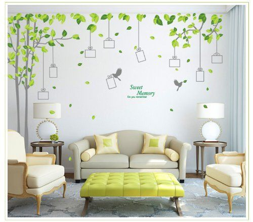Wall Stickers Decor  YYone Sweet Memory Word Grey Trunk Green Leafs Of Nine  Picture Frame · Living Room WallsLiving Room DecorCheap ...