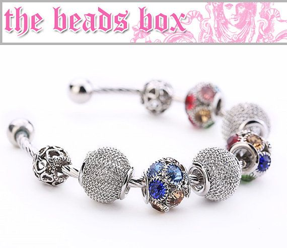 AA-11 Bracelet 925 Sterling Silver Daisies Murano by TheBeadsBox