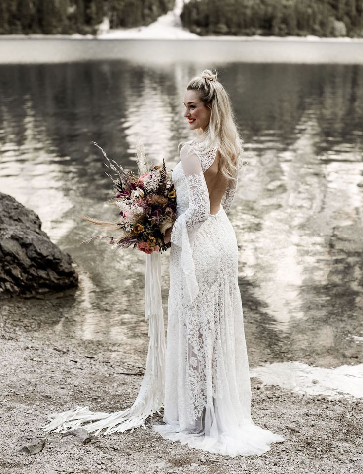 Wild Free Summertime Elopement In The Italian Dolomites Backless Wedding Gownssleeve