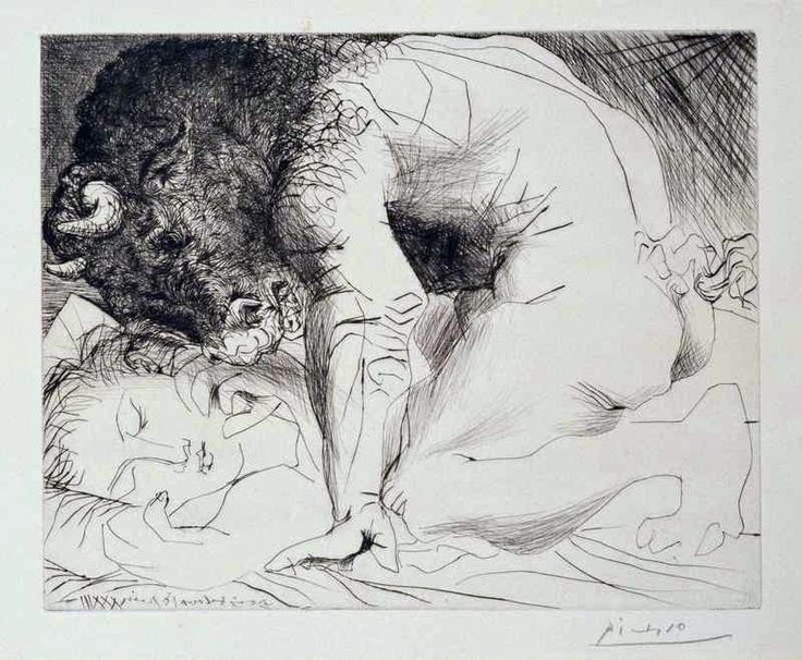 Ο Μινώταυρος χαϊδεύει με το πρόσωπό του το χέρι γυμνού κοριτσιού που κοιμάται (1933)