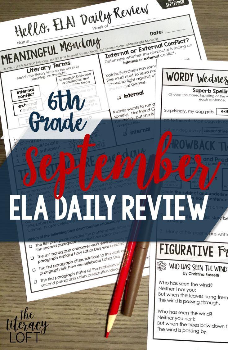 ELA Daily Review 6th Grade {September}   TpT Language Arts