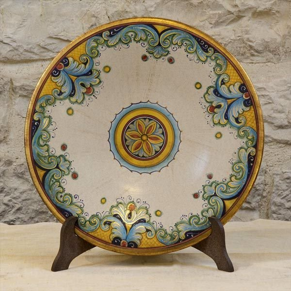 Gold accents on this classic ceramic plate...plkease allow 30 days for our artisans to create this special piece for you!