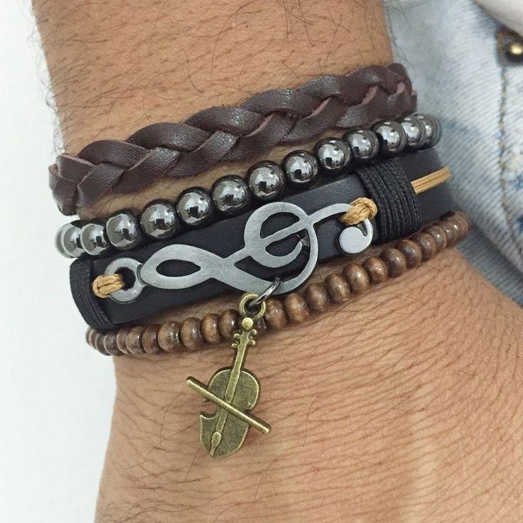 Pulseiras masculinas couro clave do sol hematita mens bracelets moda fashion style cocar brasil