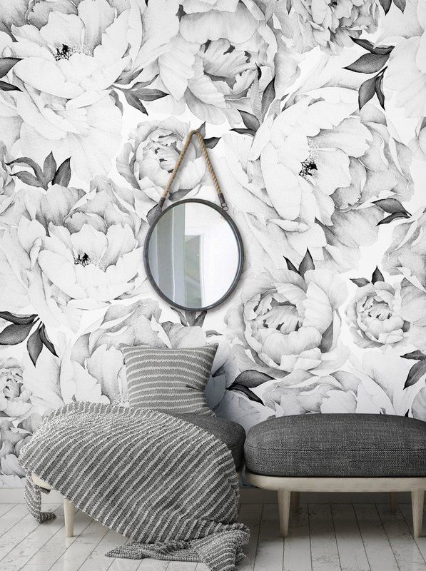 Tia Peony Floral And Botanical Matte Peel And Stick Wallpaper Tile Flower Mural Wall Art Wallpaper Mural Wall Art