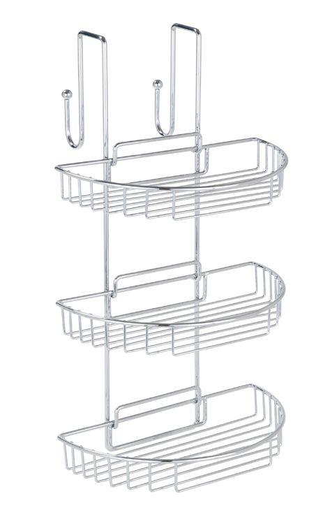 Praktisches Badregal mit zwei Haken zum Einhängen an der Duschkabinenwand mit einer Dicke von 4,7 cm, die gleichzeitig als Handtuchhaken auf der Rückseite dienen. Die 3 Ablagen für Wasch- und Duschutensilien sind zur leichten Reinigung abnehmbar. Gesehen für € 27,99 bei kloundco.de.