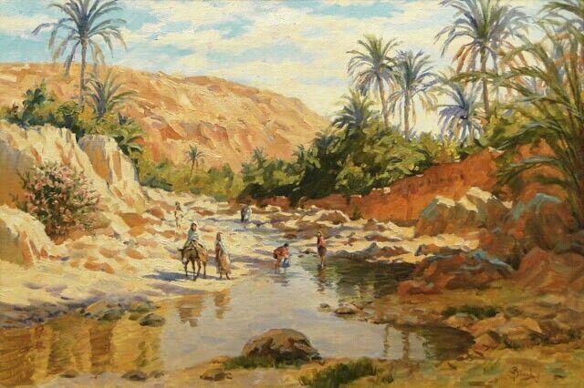 Algérie - Peintre français   Alphonse BIRCK(1859-1942) , huile sur panneau , Titre : L'oued de  Bou- Saada