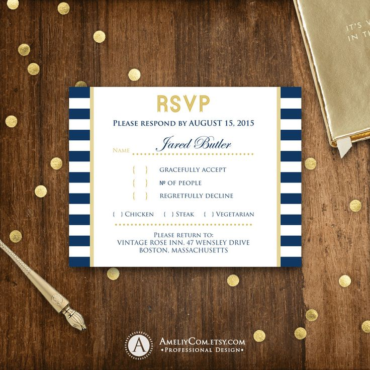 Printable RSVP Card Nautic Navy & Gold Summer Reply Card Digital EDITABLE Beach Response Cards for Wedding + Back PostCard Instant Download