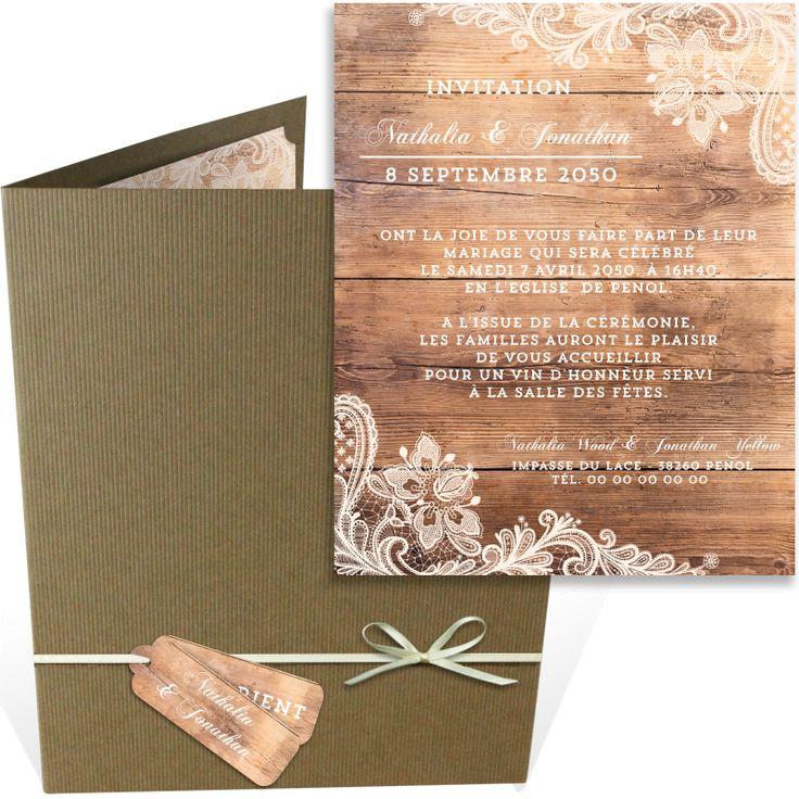 top wedding invitations016%0A Faire part mariage pochette dans un esprit campagne chic pour une annonce  tout en d  licatesse