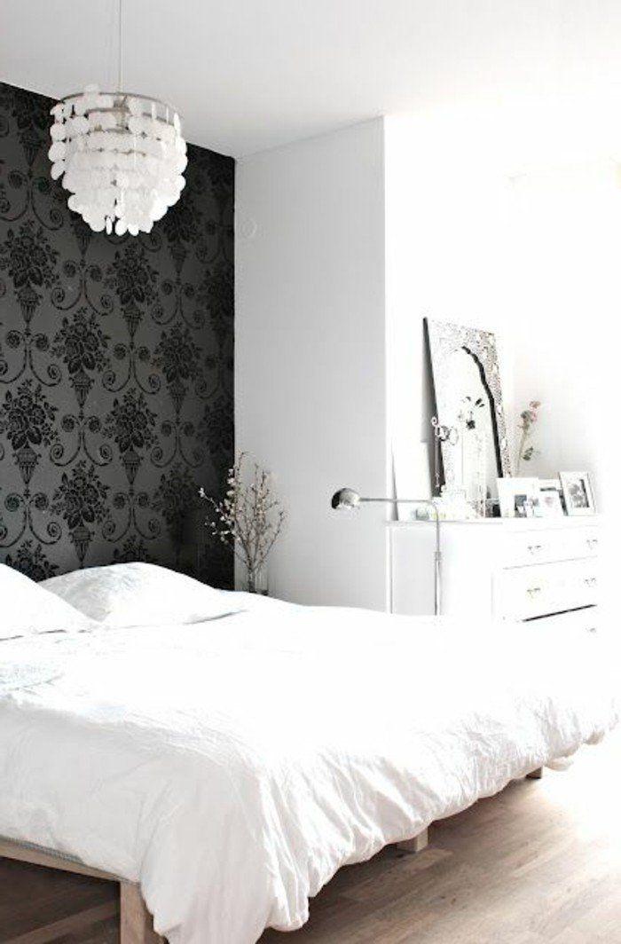 jolie chambre a coucher avec chantemur papier peint, papier peint design guild noir