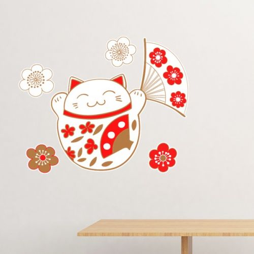 Fat Lucky Fortune Cat Flower Fan Japan Culture Removable Wall Sticker Art Decals Mural DIY Wallpaper for Room Decal #Wallsticker #Fat #Wallpaper #Lucky #Decoration #FortuneCat #Walldecor #Flower #Homedecor #Fan #Stickers #JapanCulture #Poster #DIY #Decorationsforhome #Wallart