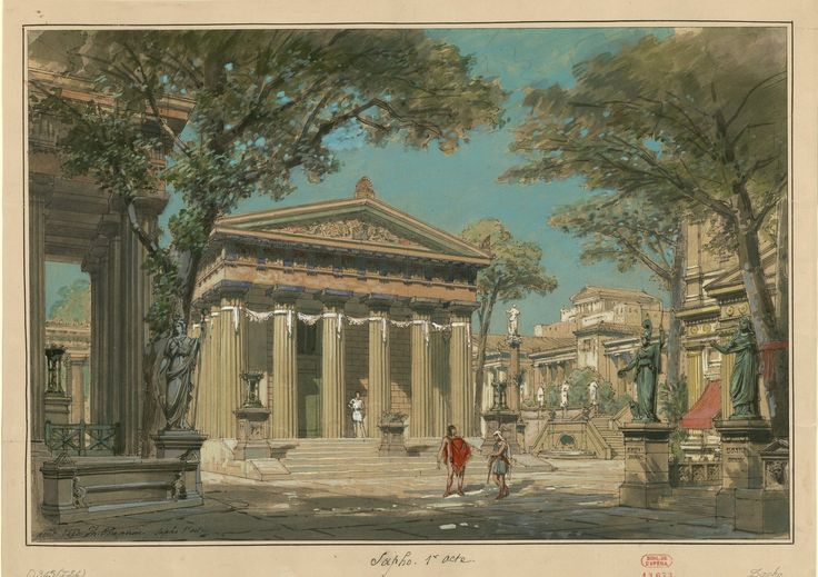 "Set design (1883), Philippe Chaperon by (1823-1906), for Act 1 of ""Sapho"" (1851), by Charles Gounod (1818-1893)."