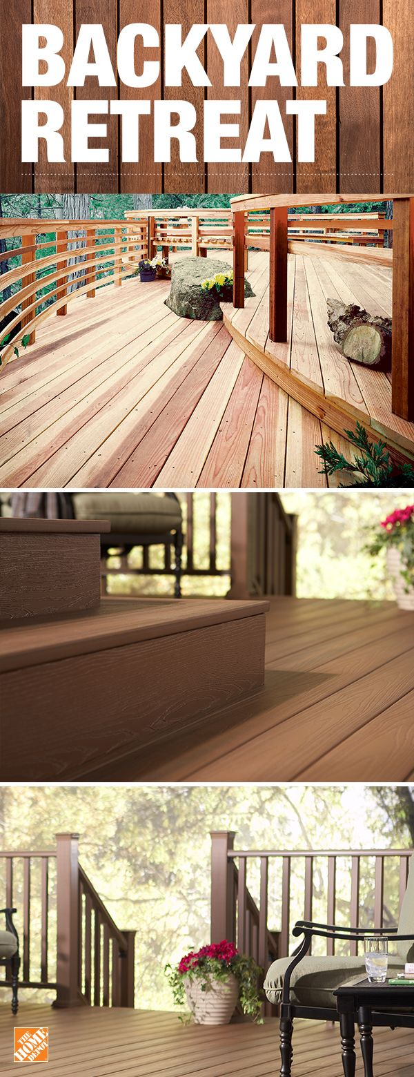 Design your deck with ground contact treated lumber or low-maintenance composite decking. Composite decking is durable, affordable and pre-stained, saving you time. If you're interested in an option that won't splinter or crack, choose composite decking. It offers the beauty of wood without the concerns of rotting or weather damage. Click to shop more decking styles for your dream home.