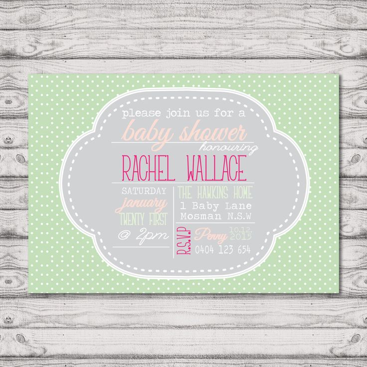 Baby Shower Invitation - Print At Home File or Printed Invitations - Mint Polkadot Cute Unisex Personalised Baby Shower Invite by PaperCrushAus on Etsy