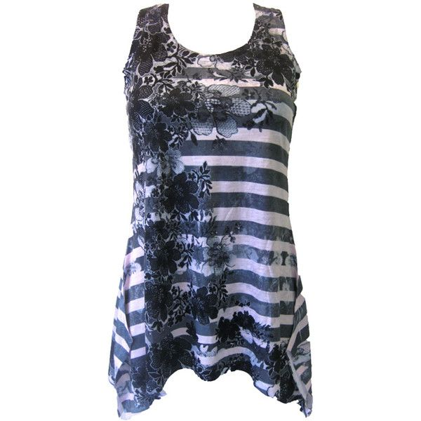 Innocent Rose Stripe Vest | Gothic Clothing | Emo clothing |... ($22) ❤ liked on Polyvore featuring tops, shirts, tank tops, tanks, striped vest, vest shirt, blue striped tank top, striped tank top and striped tank