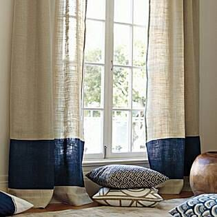 2, panels/ two tone stylish dreamy look natural and navy/white and Gray burlap curtains by zahrazart on Etsy https://www.etsy.com/listing/201955057/2-panels-two-tone-stylish-dreamy-look