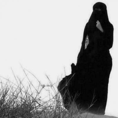 Girl in full body arabic black burqa