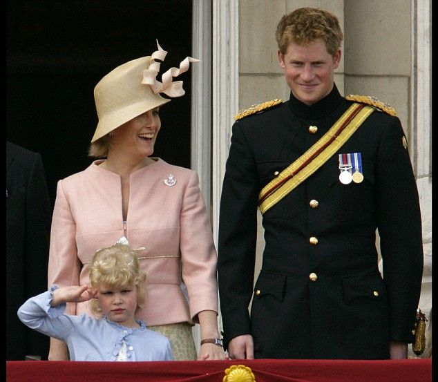 Prince Harry and Sophie Countess of Wessex with daughter Lady Louise Windsor
