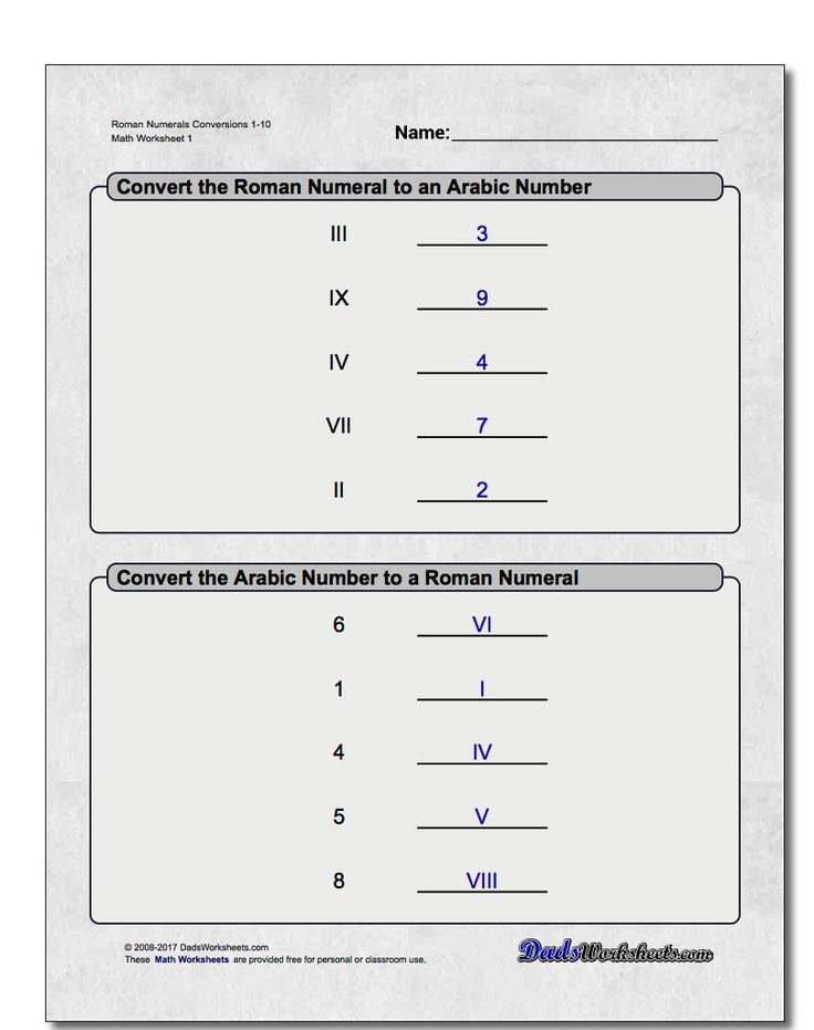Roman Numeral Worksheets for 3rd, 4th and 5th Grade  These worksheets provide a range of activities designed to build up skills translating Roman numerals to regular numbers and back again. Each worksheet is printable and includes an answer key.