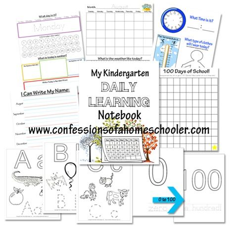 Confessions of a Homeschooler has a FREE Kindergarten Daily Learning Notebook. Included in this notebook is:     	Days of the Week 	Mont