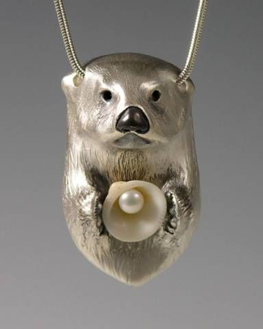 Silver Sea Otter w/ Shell and Pearl by Brooke Stone Jewelry                                   .
