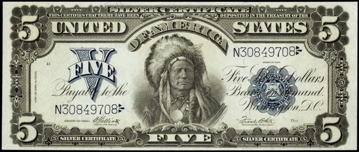 Paper Money of the United States: Five Dollar Silver Certificate Indian Chief…