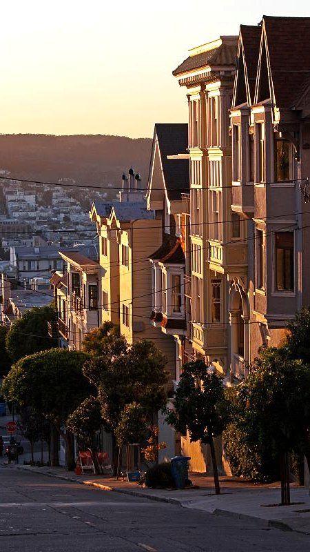 Oude Victoriaanse Huizen op Green Street, San Francisco