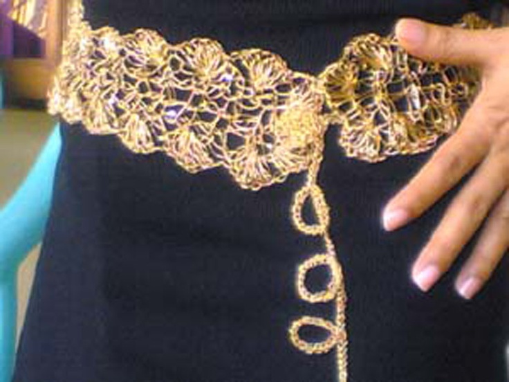 Awesome jewelry Gold wire crochet real handmade