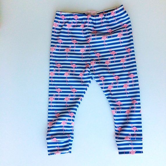 Flamingo 100% organic cotton baby leggings made in the USA by Palm Row Prints