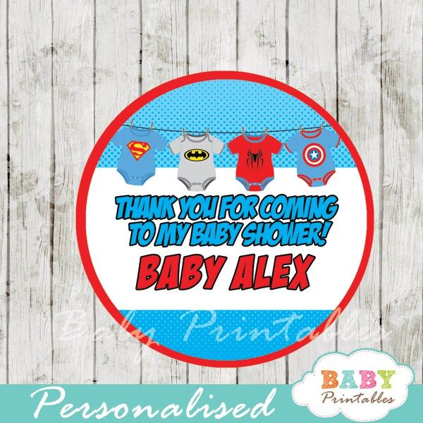 Printable superhero onesie baby shower favor tags personalized for you. #babyprintables