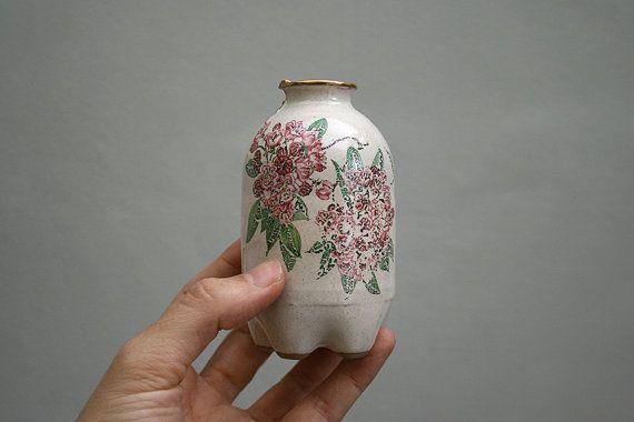 18k Real Gold Water Bottle Vase. Ceramic Flower by ferceramics