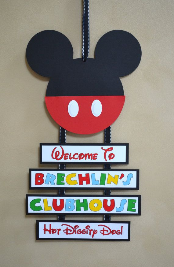 Mickey Mouse Inspired Welcome Door Sign, Birthday Welcome Sign on Etsy, $15.00