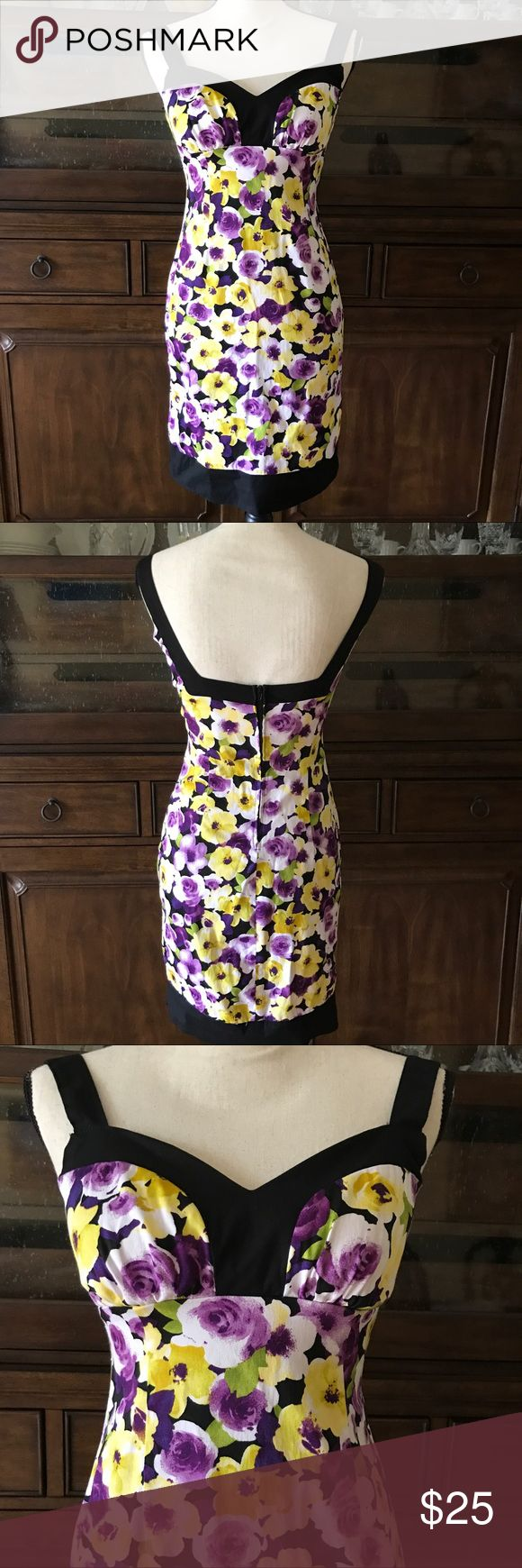 "B Smart Sundress Floral Back Zipper Stretch Size 4 Brand: B Smart Size: 4 Color: Black Trim - Purple Yellow Floral Style/Specifics: Sundress - Back Zipper - Small Amount of Stretch  ALL MEASUREMENTS   ARMPIT TO ARMPIT "" WAIST "" HIPS "" LENGTH FROM BACK OF DRESS TO HEM "" B.Smart Dresses Mini"