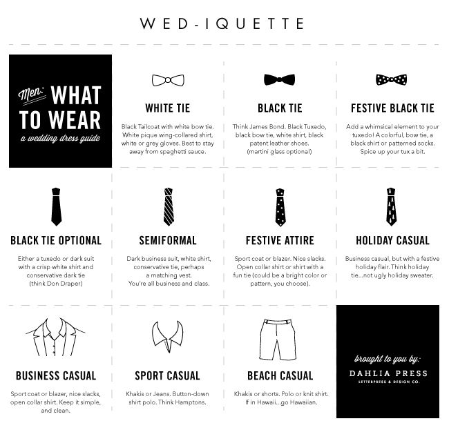 Dahlia Press: {wed-iquette} for the men: what to wear
