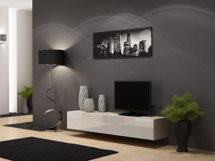 TV Board Lowboard Vigo Hängeschrank Wohnwand 180cm , Farbe:sonoma eiche Matt / weiß Hochglanz