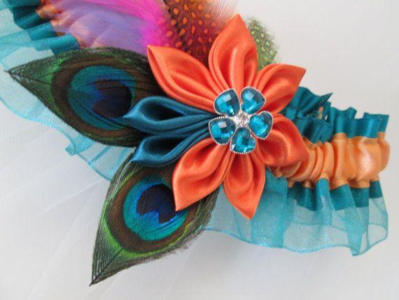 Teal & Orange Wedding Garter Peacock Garter by NakedOrchidGarters