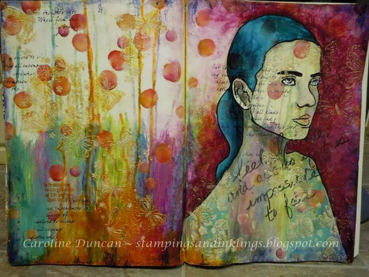art journal page by Caroline Duncan ~ www.stampingsandinklings.blogspot.com Donna Downey 48Weeks