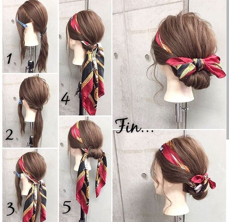 how to tie a bun with a scarf - tying back midlength to long hair with a narrow silk scarf