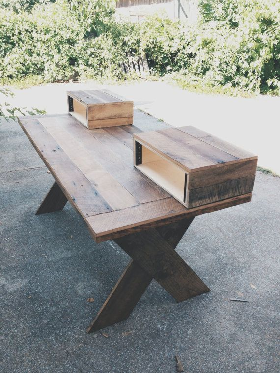 Wooden Studio Furniture ~ Reclaimed wood home studio desk recording
