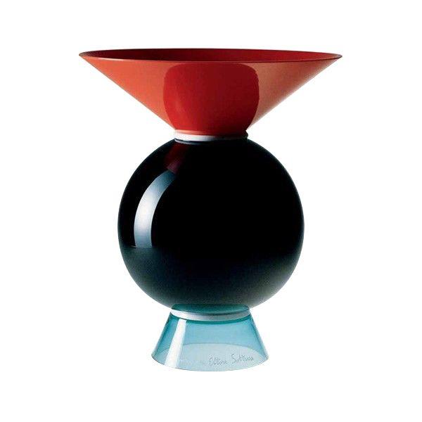 Vaso #Venini, collezione #Yemen Designer Ettore #Sottsass vetro soffiato lavorato a mano, colori corallo, lattimo, nero e verdognolo