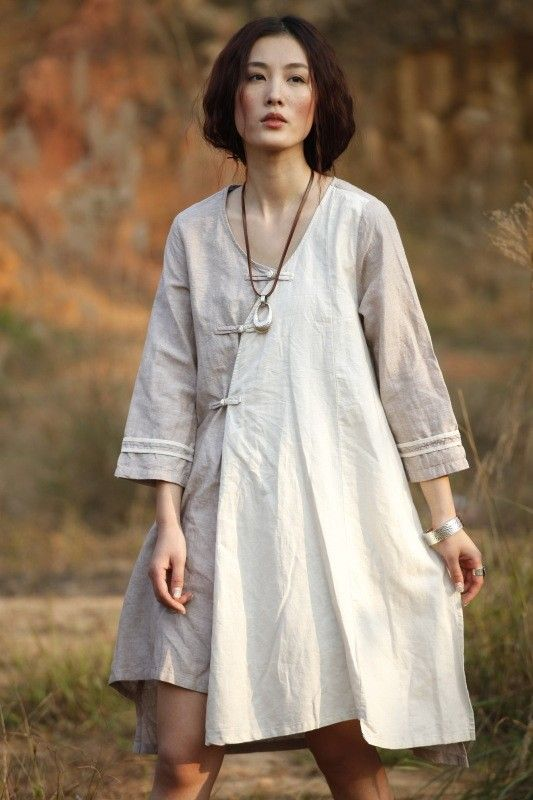 Mountain/asymmetrical Chinese buttons yarn dyed linen gown/custom made. $79.00, via Etsy.
