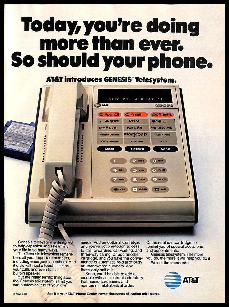 1983 AT&T Genesis Telesystem Vintage PRINT AD Phone