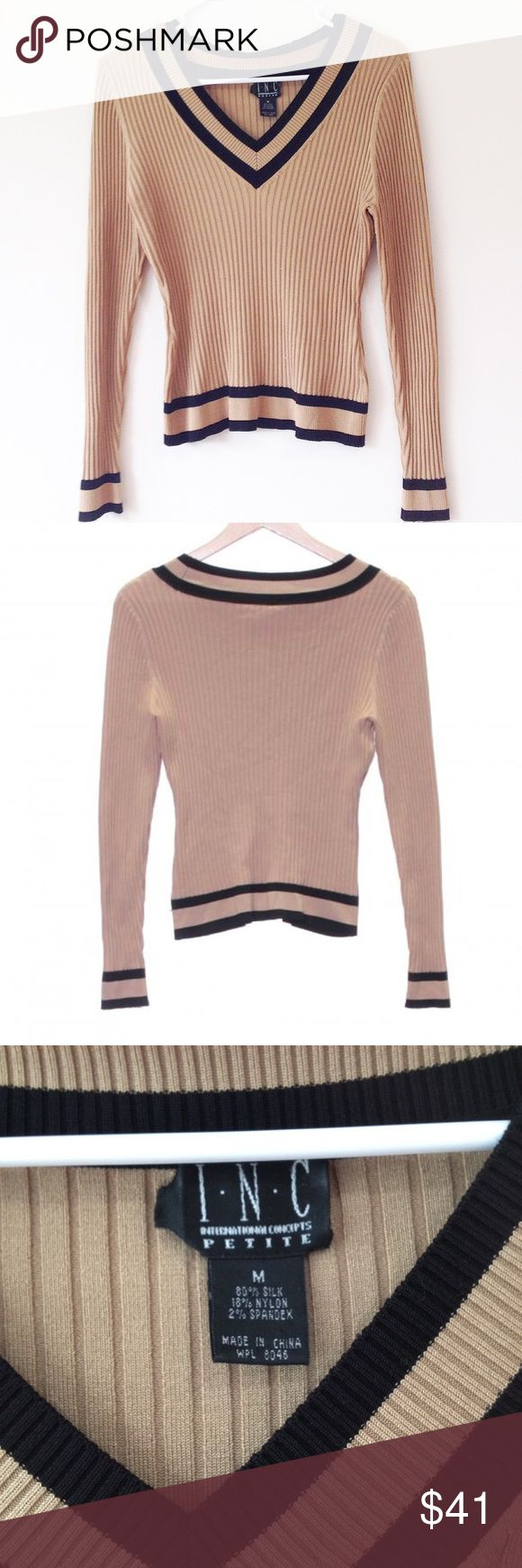 INC International Concepts Varsity Sweater Size M petite from INC International Concepts. In great condition. Soft and stretchy.  Fast shipping from a smoke free home. INC International Concepts Sweaters
