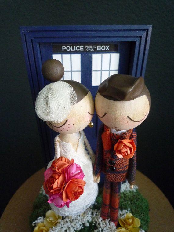 Wedding Cake Topper with Custom Wedding Dress and Doctor Who Door Background by MilkTea
