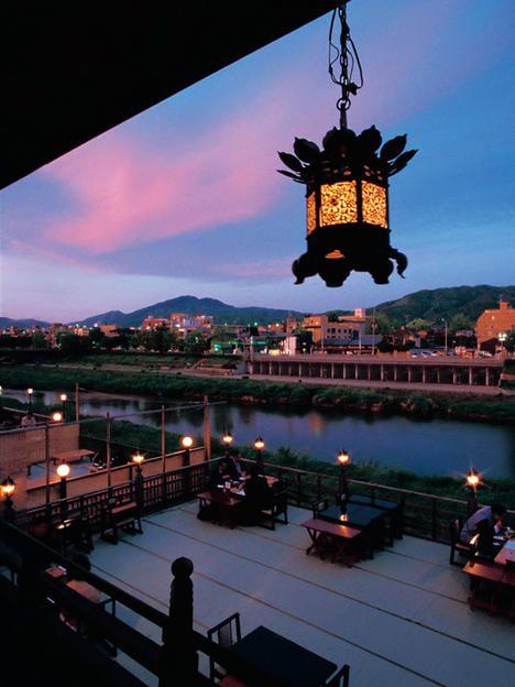 Kamogawa river summer wooden terrace, Kyoto, Japan 鴨川 納涼床