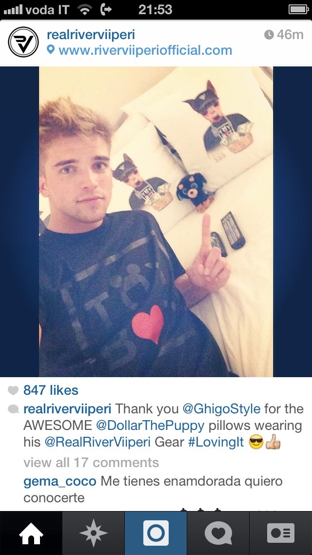 Our fav male model River Viiperi with his customized Ghigo Style pillows...