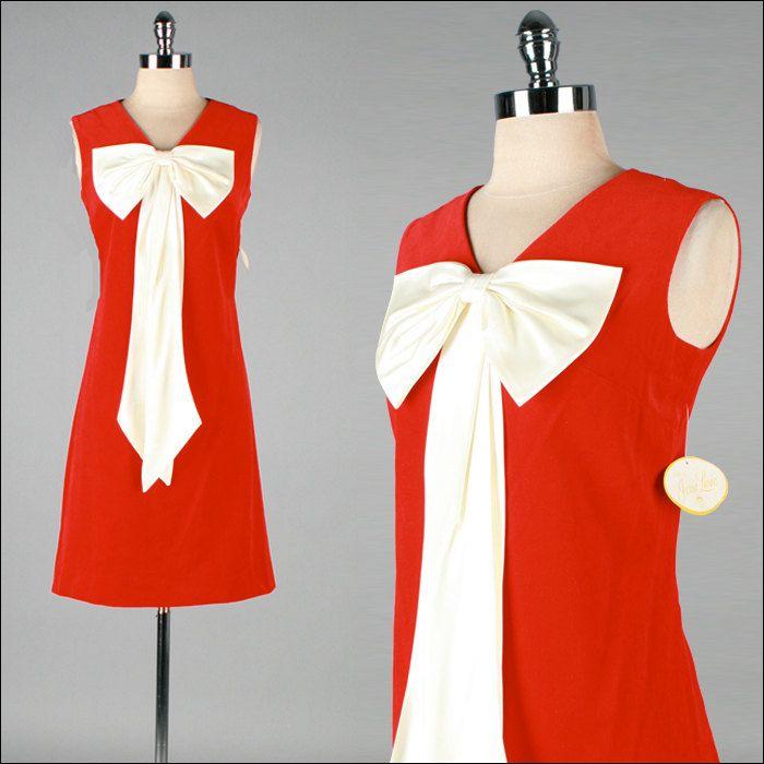 Vintage 1960s Dress . Red Velvet . Satin Bow . NWT . L . 2833