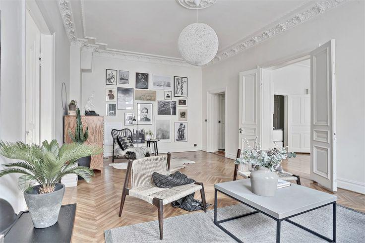 Scandinavian living room with gallery wall